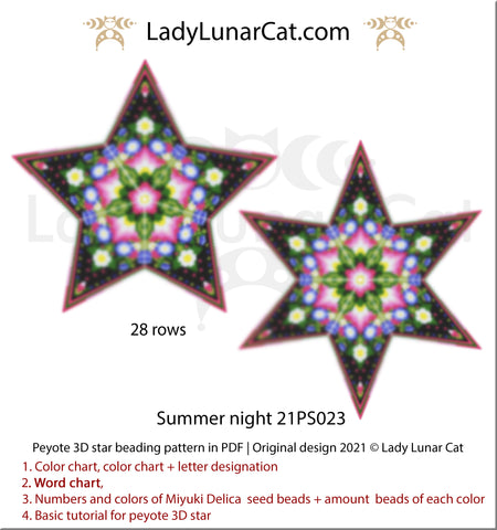 Beaded star pattern - Summer night 21PS023 by Lady Lunar Cat   3d peyote star