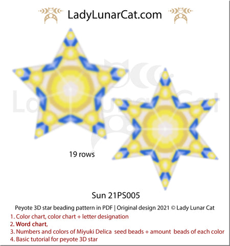 Beaded star pattern - Sun 21PS005 by Lady Lunar Cat   Seed beads tutorial for 3D peyote star