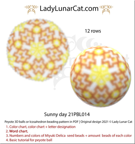 Peyote 3d ball pattern for beading | Beaded Icosahedron Sunny day 21PBL014 by Lady Lunar Cat