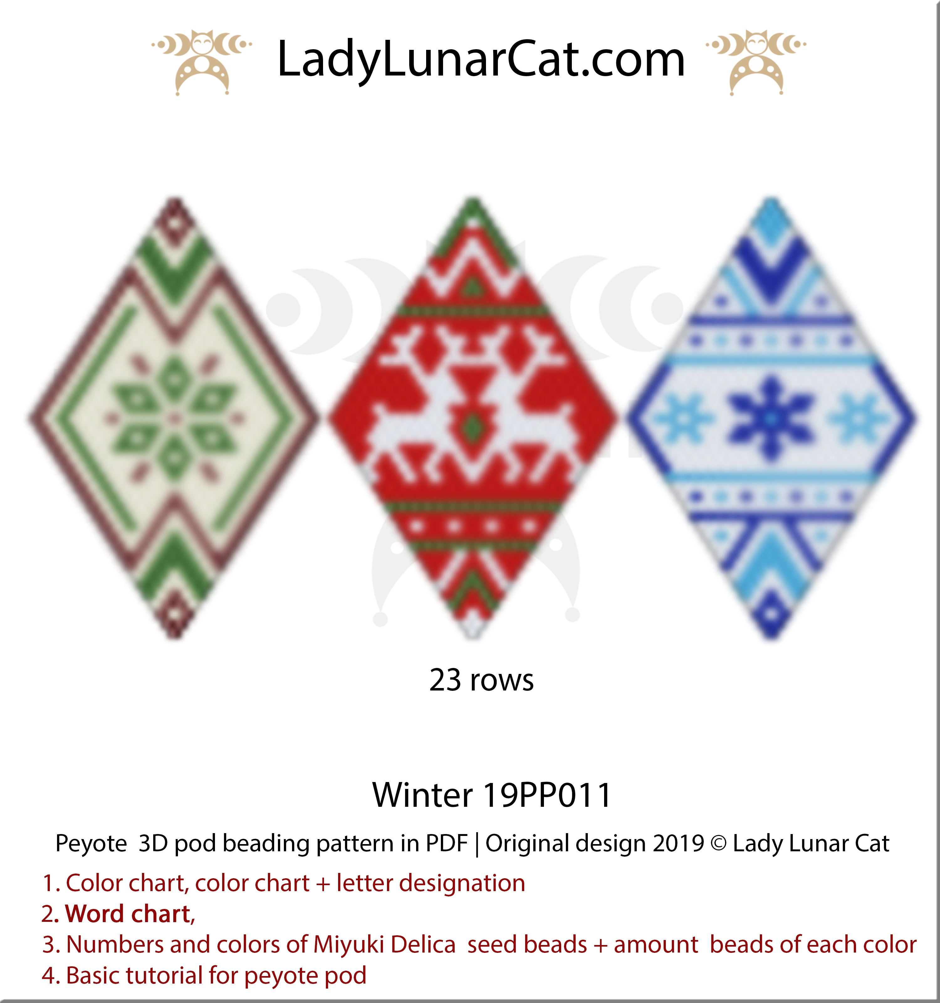 Peyote pod patterns for beading Winter ornament by Lady Lunat Cat design