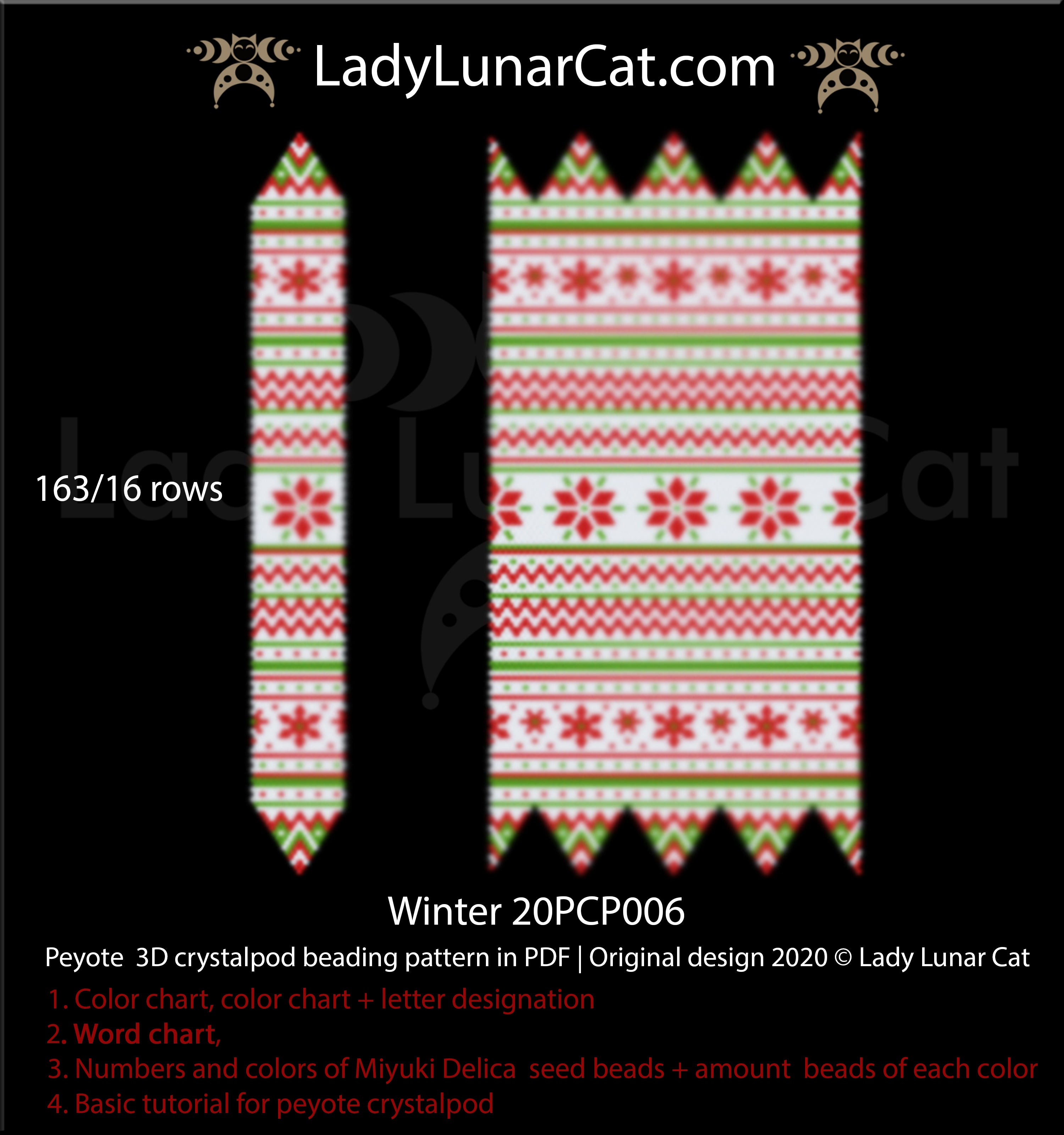 3d peyote pod pattern for beading Winter 20PCP006 by Lady Lunar Cat | Seed beads tutorial for peyote crystalpod patterns