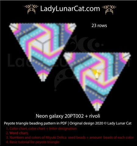 Peyote triangle pattern for beading  Neon galaxy 20PT002 by Lady Lunar Cat
