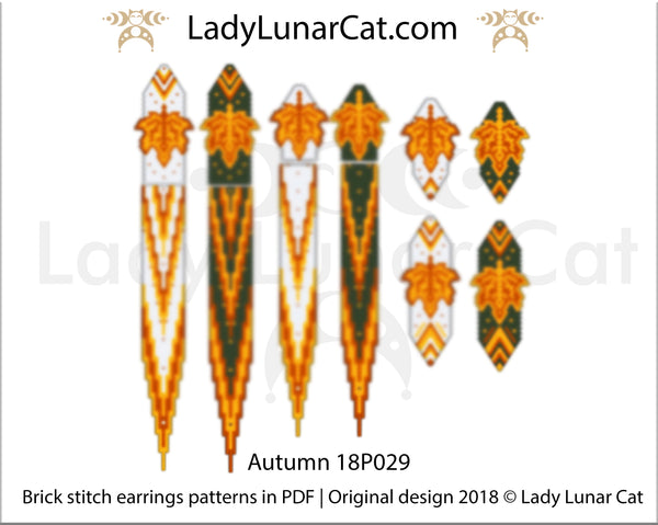 Brick stitch earrings beading pattern Autumn |  Fall peyote seed beads | Leaves beadweaving  |  DIY beadwork PDF download - LadyLunarCat