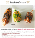3d peyote pod pattern or crystal pod pattern for beading Peach and lemon 20PCP003 LadyLunarCat