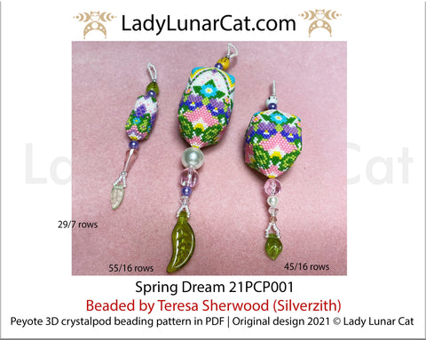 3d peyote pod pattern or crystalpod pattern for beading  Spring Dream 21PCP001 LadyLunarCat