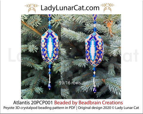 3d peyote pod pattern or crystalpod pattern for beading Atlantis 20PCP001 LadyLunarCat