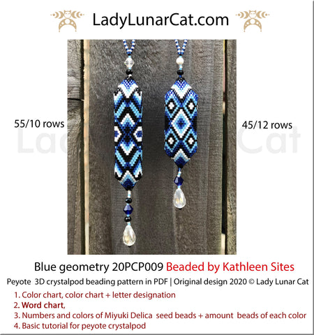 3d peyote pod pattern or crystalpod pattern for beading Blue geometry 20PCP009 LadyLunarCat