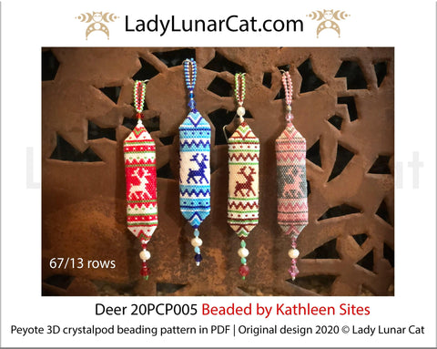 3d peyote pod pattern or crystalpod pattern for beading Deer 20PCP005 LadyLunarCat