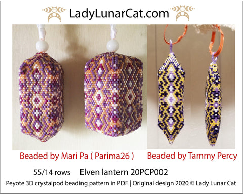 3d peyote pod pattern or crystalpod pattern for beading Elven lantern 20PCP002 LadyLunarCat