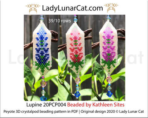 3d peyote pod pattern or crystalpod pattern for beading Lupine 20PCP004 LadyLunarCat