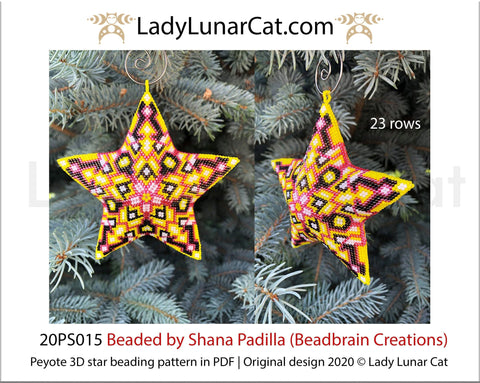 3d peyote star pattern for beading yellow Abstract  20PS015 LadyLunarCat