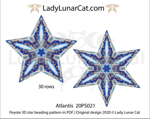 3d peyote star patterns for beading Atlantis 20PS021 LadyLunarCat