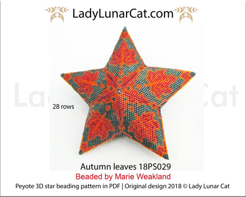 3d peyote star patterns for beading Autumn leaves 18PS029 LadyLunarCat