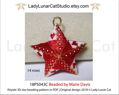 3d peyote star patterns for beading Christmas star 18PS043 LadyLunarCat