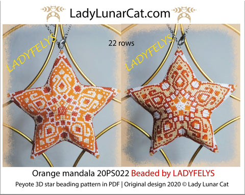 3d peyote star patterns for beading Orange mandala 20PS022 LadyLunarCat