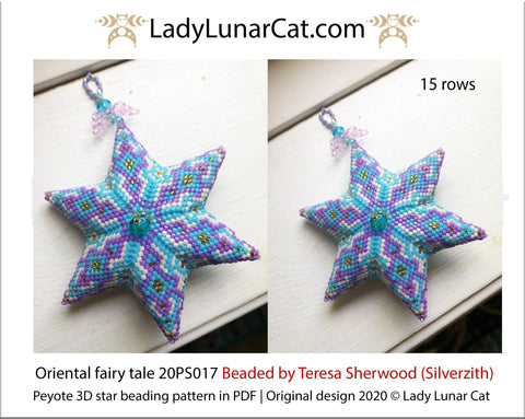 3d peyote star patterns for beading Oriental fairy tale 20PS017 LadyLunarCat