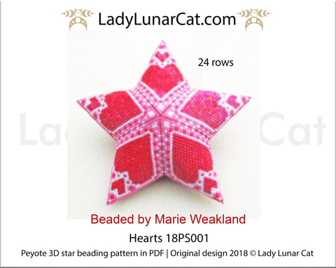 3d peyote star patterns for beading Red Hearts 18PS001 LadyLunarCat