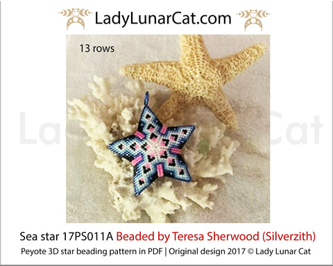 3d peyote star patterns for beading Sea star 17PS011A LadyLunarCat