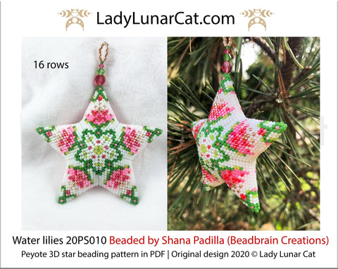3d peyote star patterns for beading Water lilies 20PS010 LadyLunarCat