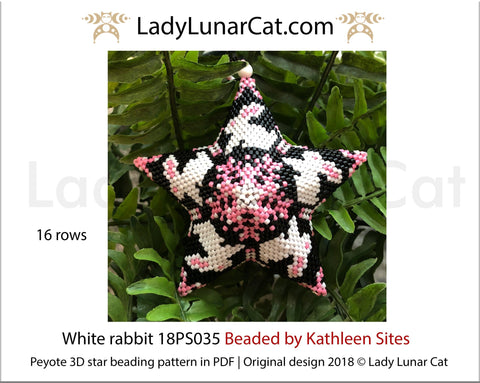 3d peyote star patterns for beading White rabbit 18PS035 LadyLunarCat