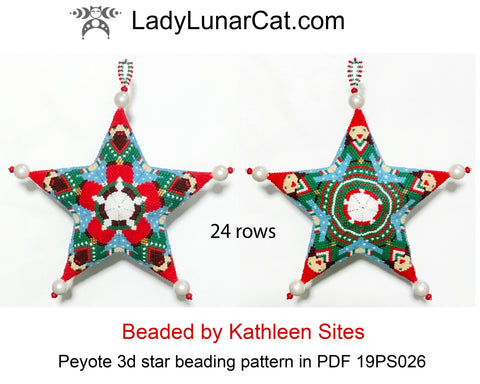 3d peyote star patterns for beading Winter Dwarfs 19PS026 LadyLunarCat