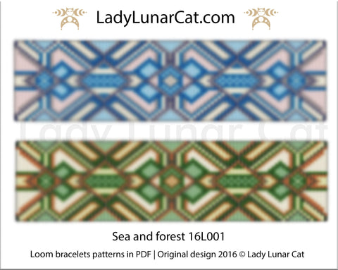 Bead loom pattern for bracelets - Sea and forest 16L001 LadyLunarCat