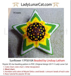 Beaded star pattern for beadweaving  Sunflower 17PS010A LadyLunarCat