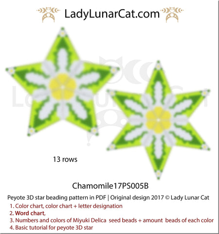 Beaded star pattern for beadweaving Chamomile17PS005B LadyLunarCat