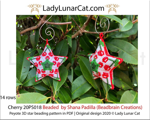 Beaded star pattern for beadweaving Cherry berry 20PS018 LadyLunarCat