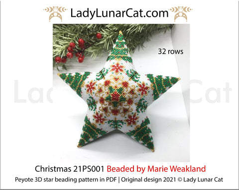 Beaded star pattern for beadweaving Christmas 21PS001 LadyLunarCat