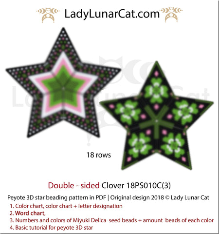 Beaded star pattern for beadweaving Clover 18PS010 LadyLunarCat