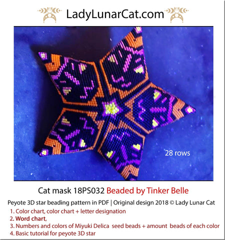 Beaded star pattern for beadweaving Halloween Cat mask 18PS032 LadyLunarCat