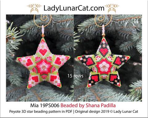 Beaded star pattern for beadweaving Mia 19PS006 LadyLunarCat