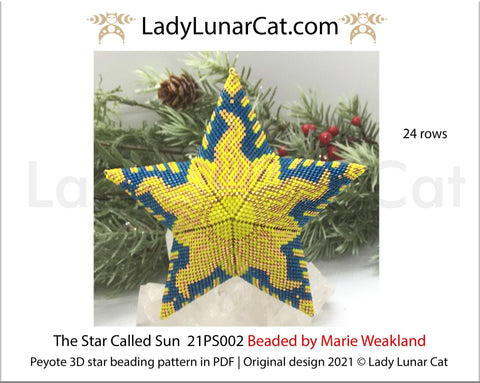 Beaded star pattern for beadweaving The Star Called Sun  21PS002 24 rows LadyLunarCat