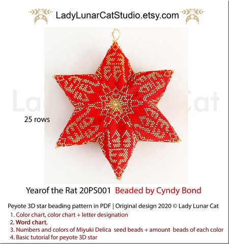Beaded star pattern for beadweaving Year of the rat 20PS001 LadyLunarCat