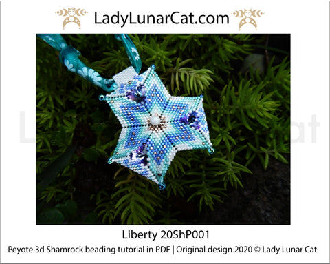Beading tutorial Peyote 3d Shamrock Liberty 20ShP001 Step by step instruction LadyLunarCat