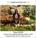 Beading tutorial for 3d Crystalpod peyote pattern  Tulip  Step by step instruction LadyLunarCat