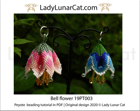 Beading tutorial for 3d peyote pod Bell flowers 19P003 LadyLunarCat
