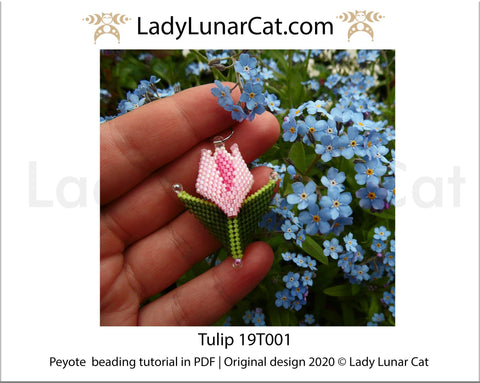 Beading tutorial for Peyote stitch  Tulip flower 19T001 LadyLunarCat
