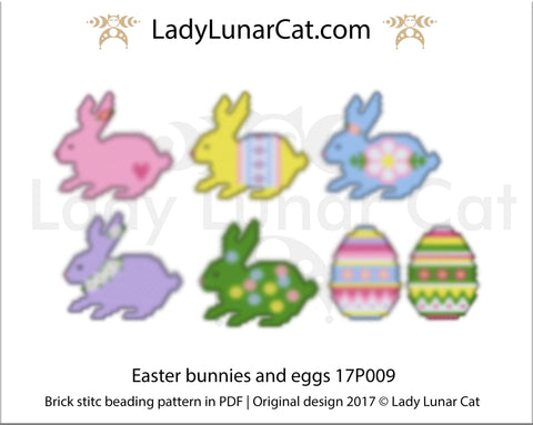 Brick stitch beading pattern Easter Bunnies and Eggs LadyLunarCat