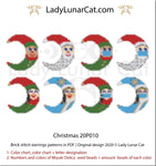 Brick stitch pattern for beading Christmas 20P010 | Winter Beaded earrings tutorial LadyLunarCat