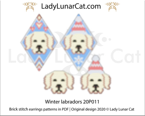 Brick stitch pattern for beading Winter Labradors 20P010 | Christmas beaded earrings tutorial LadyLunarCat