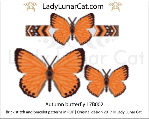 Brick stitch patterns for beading Autumn butterfly set 17B002 LadyLunarCat
