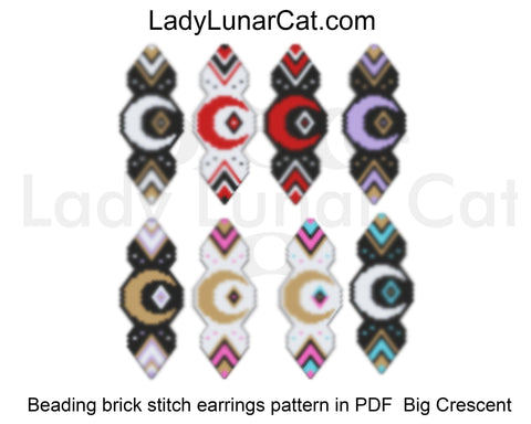 Brick stitch patterns for beading Crescent moon earrings set LadyLunarCat