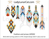 Brick stitch patterns for beading Feathers and arrows earrings 20P009 LadyLunarCat