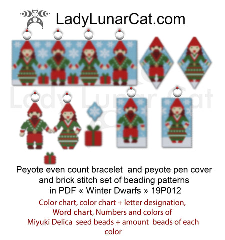 Christmas set peyote and brick stitch  Winter Dwarfs LadyLunarCat
