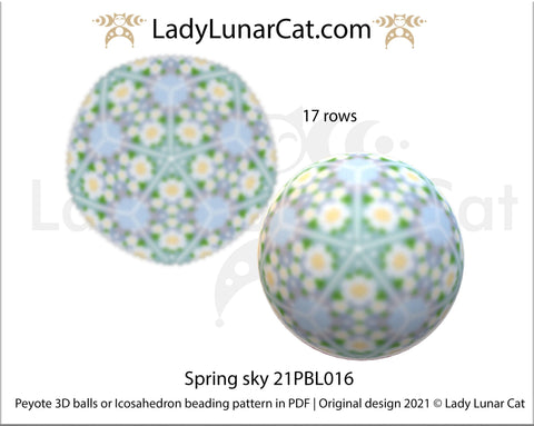 Copy of Beaded ball pattern for beading | Peyote 3d Icosahedron Hydrangea 21PBL018 16 rows LadyLunarCat