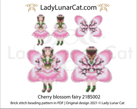 Copy of Brick stitch pattern for beading Fairy of Spring 21BS001 | Spring beaded earrings tutorial LadyLunarCat