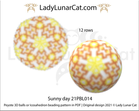 Copy of Peyote 3d ball pattern for beading | Beaded Icosahedron Chamomile and violet 21PBL003  12 rows LadyLunarCat
