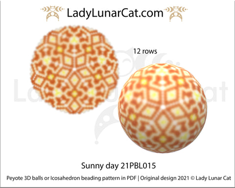 Copy of Peyote 3d ball pattern for beading | Beaded Icosahedron Sunny day 21PBL015 12 rows LadyLunarCat